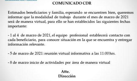 COMUNICADO: Información Inicio de Actividades